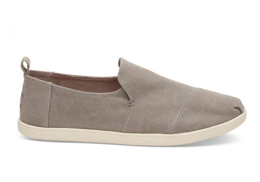 Herren Toms Schuhe – Drizzle Grey Washed Canvas Deconstructed Alpargatas Drizzle Grey