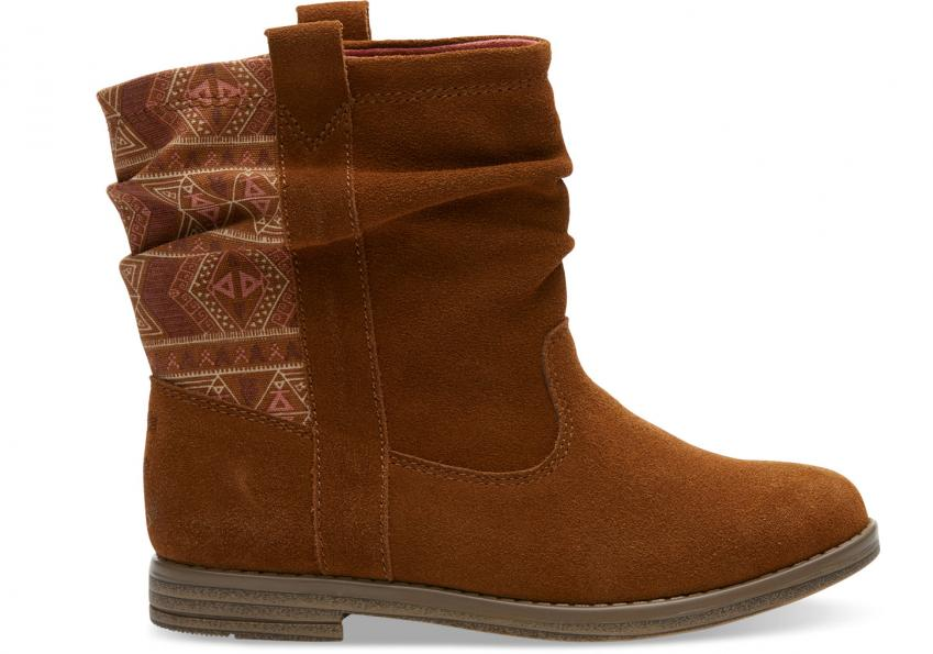 Kinder Toms Schuhe – Cinnamon Suede Tribal Laurel Stiefel für Kinder Brown