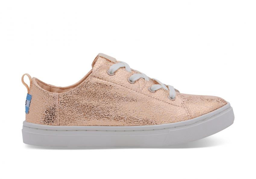 Kinder Toms Schuhe – Rose Gold Crackle Foil Lenny Sneaker für Kinder Rose Gold Crackle Foil